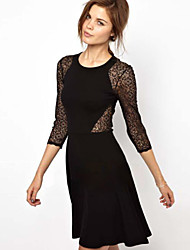Women's Round Lace/Split Dresses , Lace/Rayon Sexy/Casual/Lace/Party/Work Long Sleeve Phylomeya