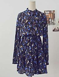 Women's Vintage Print Dress Loose Above Knee Satin