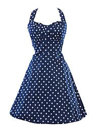 Women's Retro 50s Slim Polka Dot Sleeveless Swing Party Dress