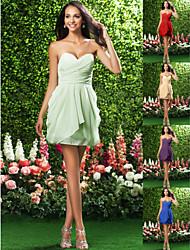 Homecoming Bridesmaid Dress Short Mini Chiffon Sheath Column Sweetheart Dress