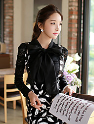 Pink Doll®Women's Round Casual Party Lace OL Hollow Out Puff Sleeve Shirt