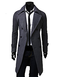 Men's Long Sleeve Plus Size Long Wollen Trench coat