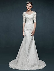 Trumpet/Mermaid Wedding Dress - Ivory Sweep/Brush Train V-neck Lace