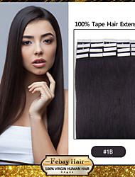 20шт 1.5-2g / шт 16-24inch бразильский девственной лента выдвижение человеческих волос # 1b ленты в человеческих волос 005
