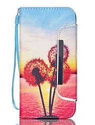Pour Samsung Galaxy Coque Portefeuille Porte Carte Avec Support Coque Coque Intégrale Coque Pissenlit Dur Cuir PU pour SamsungS6 edge S6