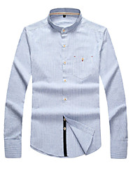 Jeans Blue Light Blue Stripes Grandad Collared Mens Shirt