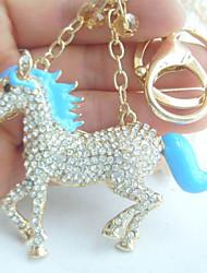 Unique Blue Enamel Clear Rhinestone Crystal Horse KeyChain Pendant