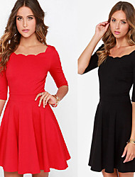 Women's Round Dresses , Knitwear Sexy/Beach/Casual/Cute/Party ½ Length Sleeve Cathy