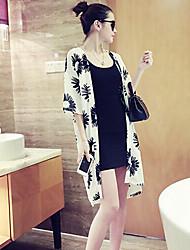Damen Bluse  -  Blume Chiffon ½ Länge Ärmel Hemdkragen