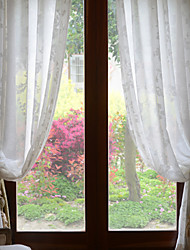 Two Panels White Jacquard Sheer Curtains Drapes