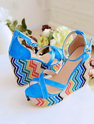 Women's Shoes Black/Blue/Peach Wedge Heel 10-12cm Sandals (PU)