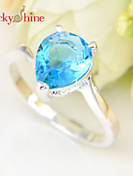Lucky Shine Women's 925 Silver Fire Drop Fire Sky Blue Topaz Green Quartz Crystal Gemstone Rings For Friend Family Gift