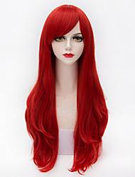 longo cabelo natural estrondo lado vermelho direto lolita sintética peruca europeu mergulhado resistente ao calor para as mulheres
