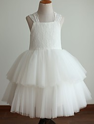 Princess Tea Length Flower Girl Dress - Lace Satin Tulle Sleeveless Halter with Lace