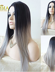 Silk Straight Ombre Silver Grey Synthetic Lace Front Wig Two Tone Natural Black/Grey Hair Wigs For Women Emma Wigs