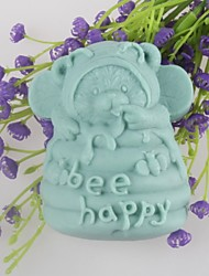 Bear Bee Happy Shaped Soap Molds Mould Fondant Cake Chocolate Silicone Mold, Decoration Tools Bakeware