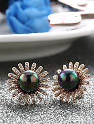 18k Gold Plating Pearl Zircon Stud Earrings