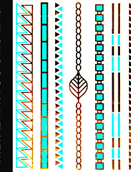 Chain Temporary Tattoo Sticker Sex Tattoo Body Art/Triangle,Choker,Chain,Bar,Leaf/Waterproof Gold Metallic Tatoo