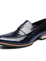 Oxfords ( Cuero , Negro/Azul/Marrón/Rojo Tacón plano para Zapatos de hombre