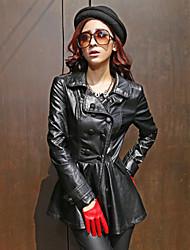 Women Fashion PU Trench Coat