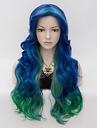 Fashion Long Multi Color Mix Color Rock Spring Bouquet wavy Cosplay party Wig