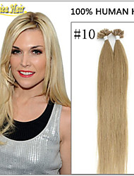 """100strands 18 """"-28"""" de queratina 8a extensiones de cabello punta de la uña de grado pulgadas recta Herradura pelo cabello real 100g / pack"""