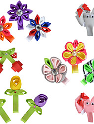 12 Pcs Animal Kanzashi Grosgrain Printing Ribbon Hair Bows Girl Clips Hairbows Alliger Clip Accessories Handwear AC024