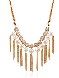 Diamond Tassel Pearl Necklace