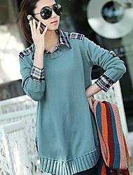 Women's Shirt Collar Tops & Blouses , Knitwear Vintage Long Sleeve qingshadieying