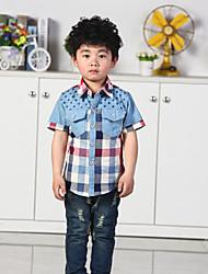 Katoen/Denim - Zomer - Boy's - Overhemd - Korte mouw