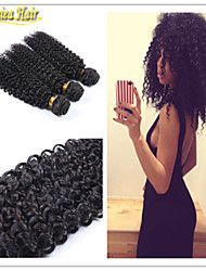 3 Pcs/Lot Grade 8A 100% Brazilian Human Remy Hair Weft Afro Curly Hair Extension Weave natural Color in stock