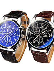 High-grade Leather Strap Three Dashboard Blue Ray Glass Casual Quartz Watch Cool Watches Unique Watches