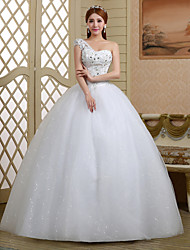 Ball Gown Wedding Dress Floor-length One Shoulder Lace / Tulle