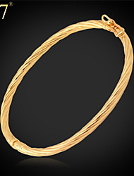 U7® Women's Oval Bangle Platinum/18K Gold Plated Fashion Jewelry Simple Style Bangle Bracelet