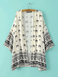 Women's New Fashion Blouse Shirts Kimono Style  , Cotton Short Sleeve Elephant Print