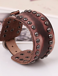 Korean Style Genuine Leather Factory Direct Sales Bracelet(Brown)(1Pc)