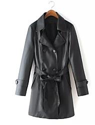 Abrigo/Top Mujer - PU/Cuero Sintético