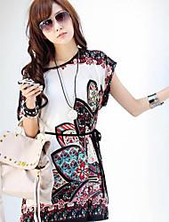 Women's V-Neck Tops & Blouses , Chiffon/Rayon Print Sleeveless qingshadieying