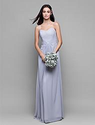 Lanting Bride® Longo Chiffon Vestido de Madrinha - Tubinho Com Alças Finas com Cruzado