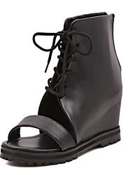 Zapatos de mujer Semicuero Tacón Cuña Punta Abierta Botas Casual Negro
