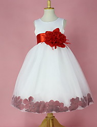 Ball Gown Knee-length Flower Girl Dress - Satin Sleeveless