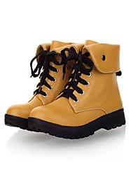 Calçados Femininos Courino Salto Grosso Trabalho & Segurança Botas Escritório & Trabalho/Casual Preto/Marrom/Marfim