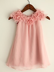 Sheath/Column Knee-length Flower Girl Dress - Chiffon Short Sleeve