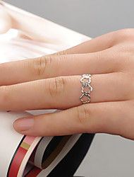 Women Fashion Simple Flower Pattern Adjustable Ring Joint Ring