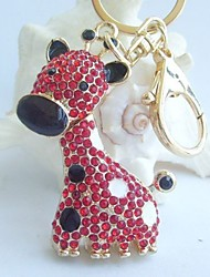 Charming Deer Giraffe Key Chain With Red Rhinestone Crystals