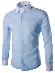 Fast  Men's Shirt Collar Casual Shirts , Cotton Blend Long Sleeve Casual