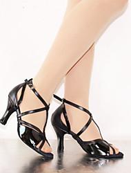 Sapatos de Dança ( Preto/Prateado/Chocolate ) - Mulheres - Customizáveis - Latim