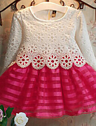 Girl's Red Dress , Lace Polyester Spring / Fall