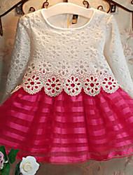 Robe Fille de Jacquard Polyester Printemps / Automne Rouge