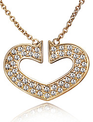 HKTC Retro Bridal Jewelry 18k Rose Gold Plated Cubic Zirconia Crysatl Big Heart Pendant Necklace